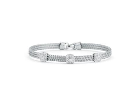 $795.00 18K White Gold, Stainless Steel & Grey Stainless Cable With .14ctw Diamonds Bracelet