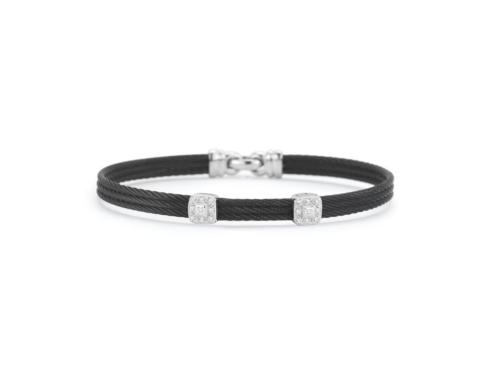 $595.00 18K White Gold, Stainless Steel & Black Stainless Cable With .09ctw Diamonds Bangle Bracelet