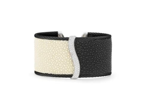 $1,677.00 18K White Gold, Stainless Steel, Black Stainless Cable With White & Black Stingray & .63ctw Diamonds Bangle Bracelet