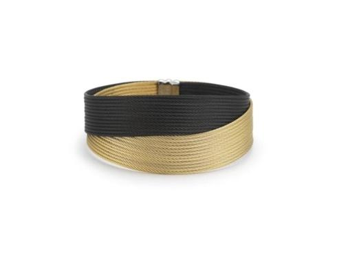 $495.00 18K Yellow Gold, Stainless Steel, Black & Yellow Stainless Cable Bangle Bracelet