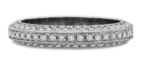 $10,000.00 Three Row Full Round Diamond Bead Set Band with Milgrain