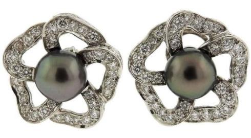 $7,500.00 Mikimoto Tahitian Pearl and Diamond Flower Earrings