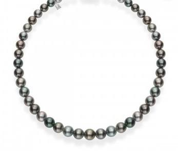 $6,000.00 Mikimoto Multi-Strand Black South Sea Pearl tapered strand