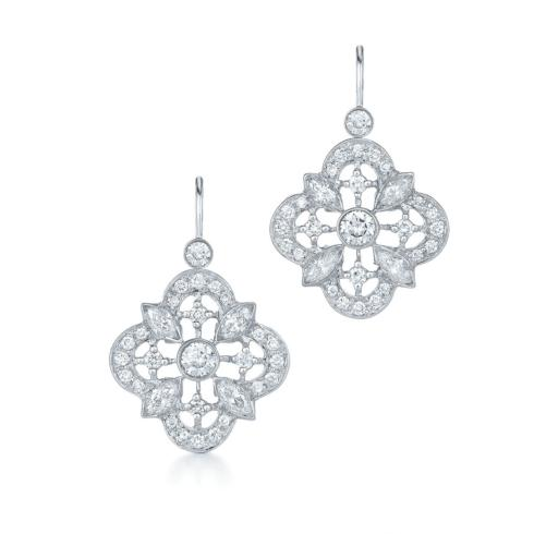 $3,600.00 Diamond Drop Earrings in 18K White Gold