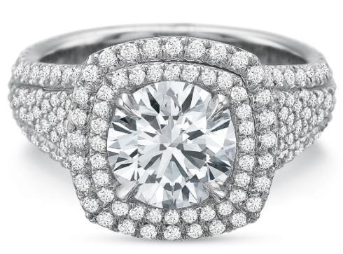 $10,000.00 Extraordinary Double Halo Cushion with Diamond Shank Engagement Ring