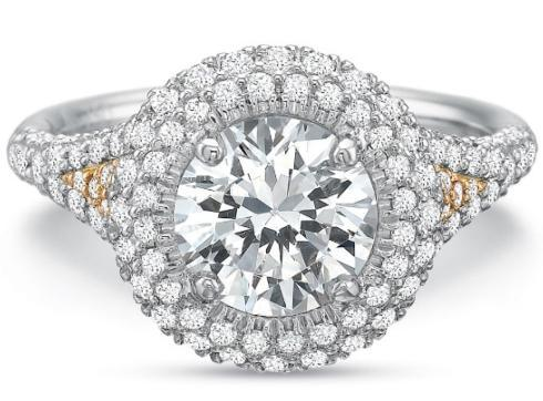 $10,000.00 Extraordinary Double Round Halo with Diamond Shank Engagement Ring
