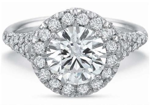 $10,000.00 Extraordinary Cushion Halo with Diamond Split Shank Engagement Ring