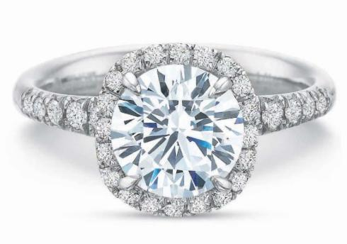 $10,000.00 Extraordinary Cushion Diamond Halo Engagement Ring