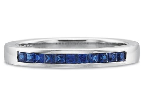 $10,000.00 .33ctw Half Round Princess Cut Channel Set Sapphire Ring