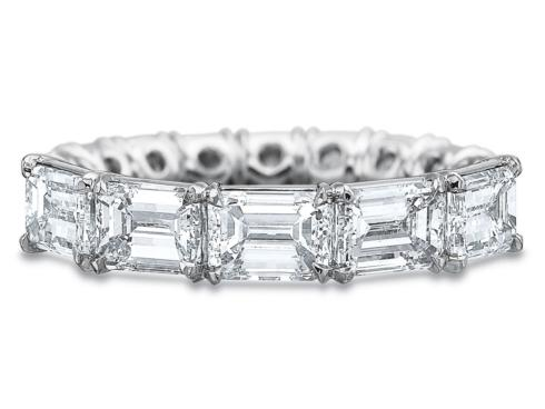 $10,000.00 3.20ctw Full Round Horizontal Emerald Cut Diamond Band