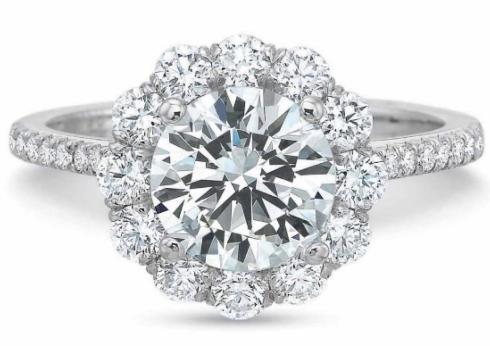 $10,000.00 FlushFit™ Round Diamond Halo with Thin Diamond Shank Engagement Ring