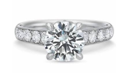 $10,000.00 FlushFit™ Tapered Diamond Beadset Engagement Ring