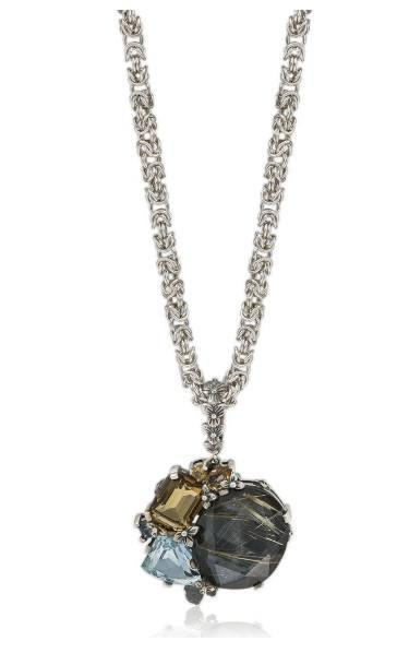 $1,150.00 Gold Rutilated Quartz, Hematite, Citrine & Blue Topaz Pendant