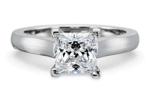 $10,000.00 FlushFit™ 2.75MM Solitaire Engagement Ring fpr Princess cut center