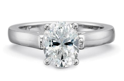 $10,000.00 FlushFit™ 2.75MM Solitaire Engagement Ring for oval center