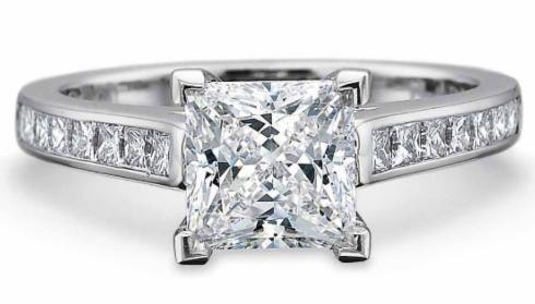 $10,000.00 FlushFit Solitaire with Princess Cut Diamond Channel Set Shank