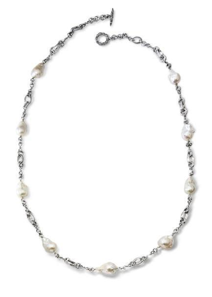 $495.00 Small Baroque Pearl Link Necklace, 35""