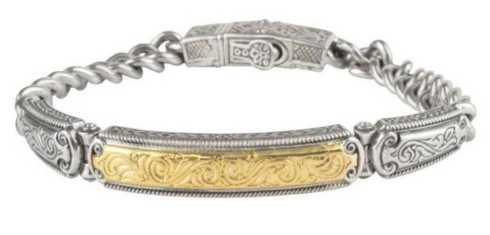 $1,490.00 Sterling Silver and 18k gold ID Bracelet