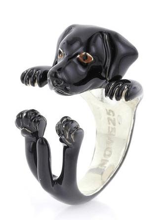 $360.00 ENAMEL HUG RING - LABRADOR RETIEVER BLACK
