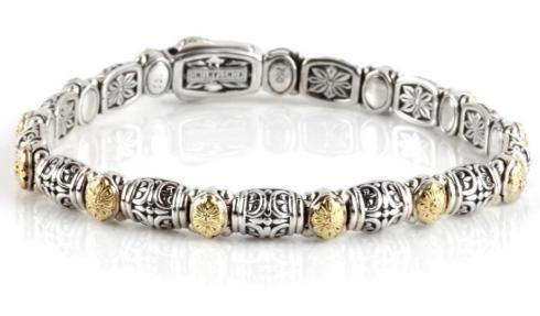 $785.00 Sterling Silver & 18k Dotted Clasp Bracelet