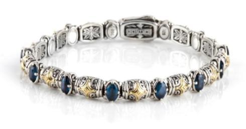 $895.00 Sterling Silver & 18k Gold Dotted Bracelet
