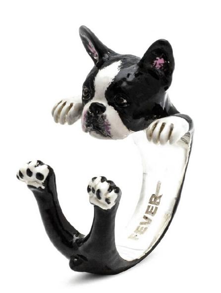 $260.00 ENAMEL HUG RING - BOSTON TERRIER