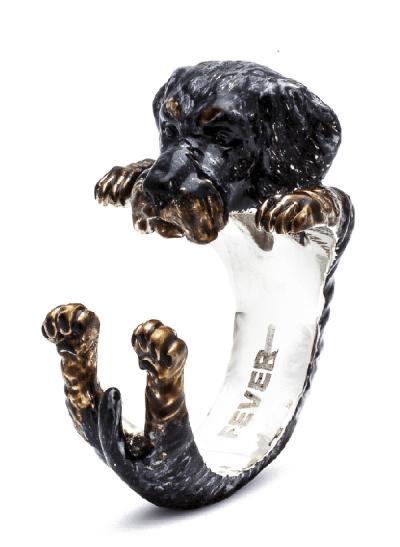$260.00 ENAMEL HUG RING - DACHSHUND TECKEL