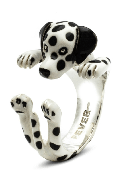 $360.00 ENAMEL HUG RING - DALMATION