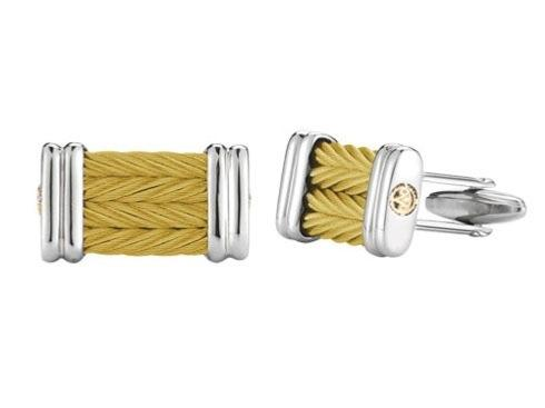$295.00 18K Yellow Gold, Stainless Steel & Yellow Stainless Steel Cable 4 Row 3mm Cufflinks