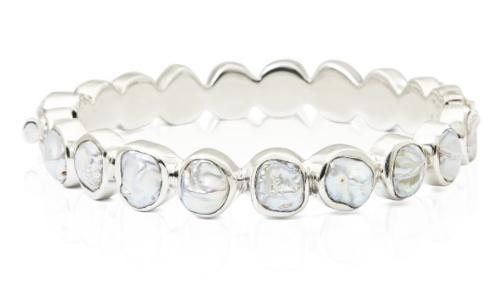 $345.00 Small White Keshi Pearl Bangle