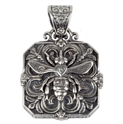 "$385.00 Etched S/S bee locket with ""Nectar"" inscription inside"