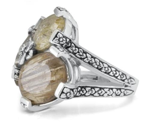 $495.00 Gold Rutilated Quartz flower engraved sterling silver Cluster Sterling Silver Ring