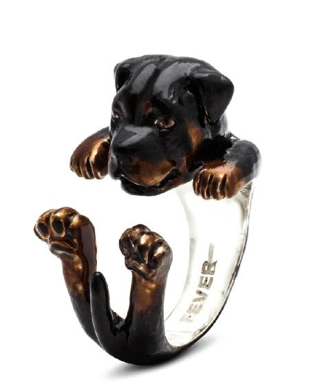 $360.00 ENAMEL HUG RING - ROTTWEILER