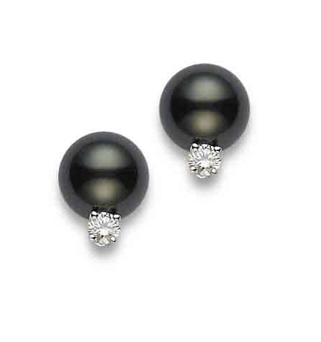 $2,120.00 Black South Sea Pearl and Diamond Earrings