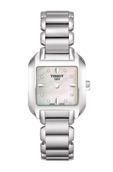 $237.50 T-Wave Women\'s Quartz Watch White Mother of Pearl & Diamonds Dial Square Watch With Stainless Steel Bracelet