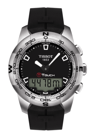 $425.00 T-Touch II Men\'s Quartz Black Dial Watch With Black Rubber Strap