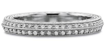 $10,000.00 Full Round Diamond Bead Set Beveled Band with Diamond Sides