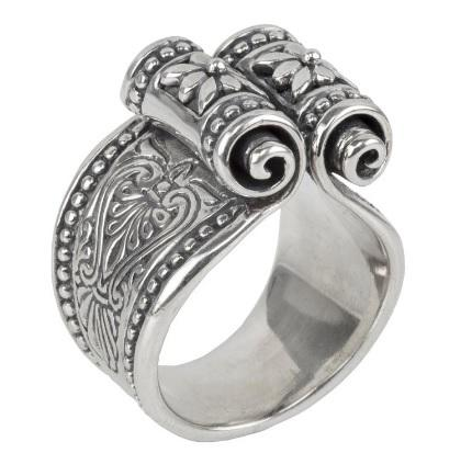 $250.00 Etched sterling silver scroll ring