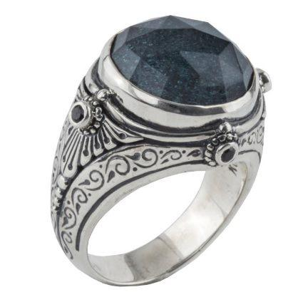 $550.00 Sterling Silver Ring with Hematite Doublet and Spinel