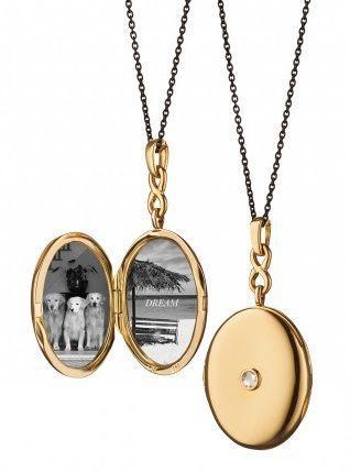 $3,250.00 INFINITY DIAMOND LOCKET in 18K yellow gold on Steel Chain