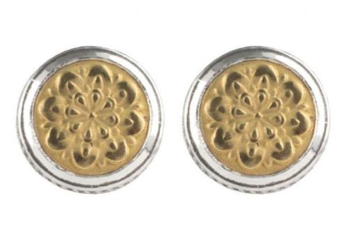 $680.00 Sterling Silver and 18k Gold Rosette Stud Earrings