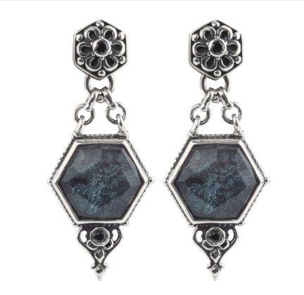 $690.00 Sterling Silver Earrings with Specular Hematite Doublet and Spinel
