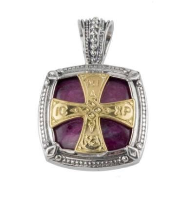 $1,490.00 Sterling Silver & 18K Gold Ruby Root Pendant