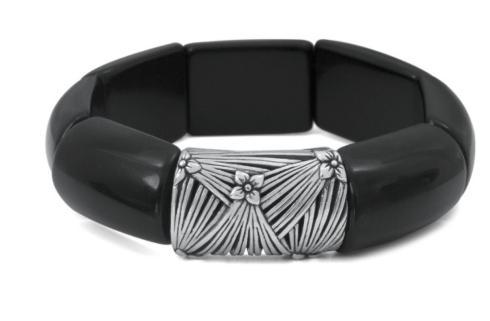 $295.00 Black Agate Stretch Bracelet with Engraved Sterling Silver Detail
