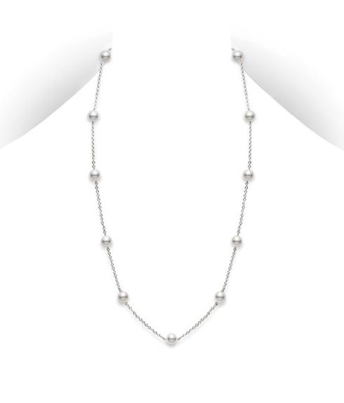 "$975.00 Akoya Cultured Pearl 18"" Station Necklace - 18 karat White Gold"