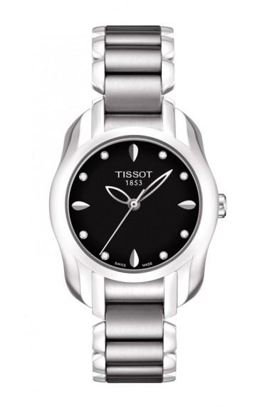 $247.50 T-Wave Women\'s Quartz Wtch Black Dial & Diamonds Index Round Watch With Stainless Steel Bracelet