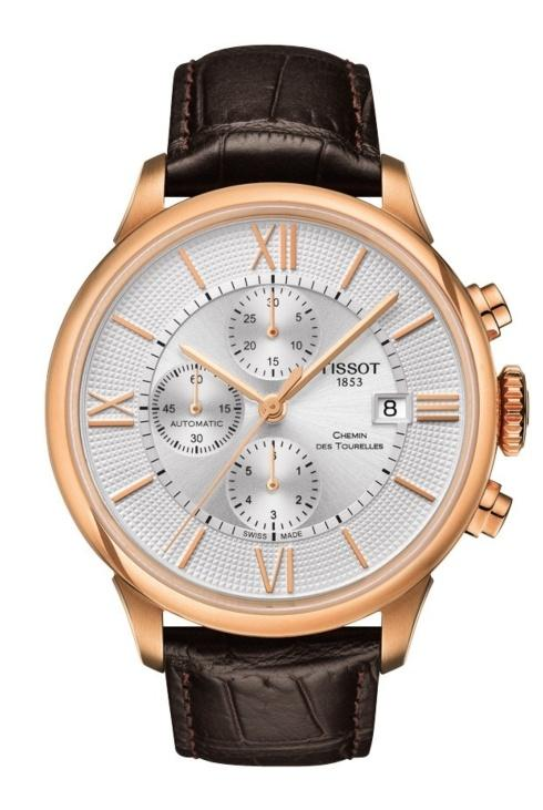 $1,175.00 Chemin Des Tourelles Men\'s Chronograph Automatic Silver Dial With Brown Leather Strap