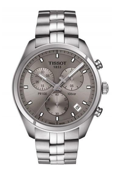 $425.00 PR 100 Men\'s Quartz Chronograph Rhodium Dial With Stainless Steel Bracelet