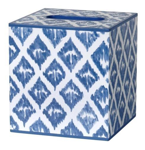 $105.00 Allen G Designs Waste Basket/Tissue Cover in Ikat Blue