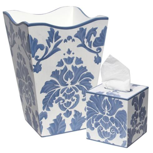 $105.00 Allen G Blue Medallion Waste Basket
